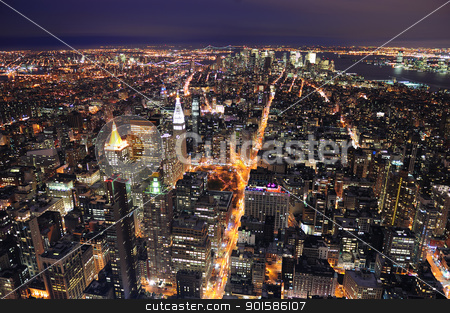 New York City Manhattan skyline aerial view at dusk stock photo, New York City Manhattan aerial view at dusk with urban city skyline and skyscrapers buildings by rabbit75_cut