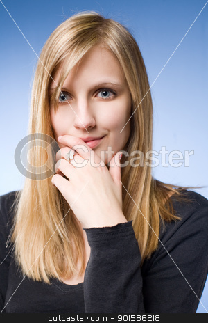 Thoughtful young blond woman. stock photo, Closeup portrait of a thoughtful young blond woman. by exvivo