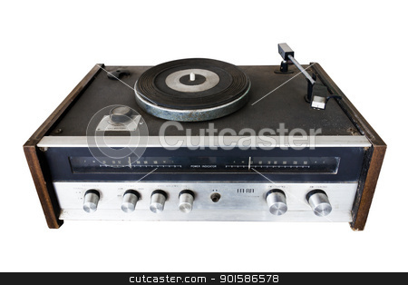 Vintage record player  stock photo, Vintage record player with radio tuner isolated on white background by stoonn