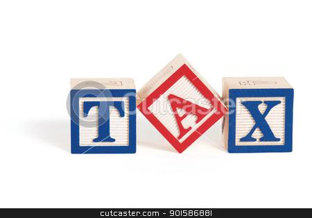 Simple Tax stock photo, Alphabet blocks arranged to spell the word,