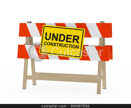 under construction barrier stock photo, yellow black under construction sign on barrier by d3images