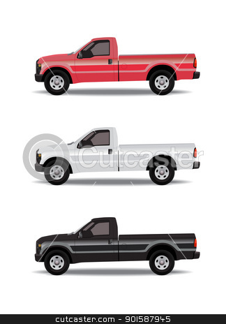 Pick-up trucks  stock photo, Pick-up trucks in three colors - red white and black by lkeskinen