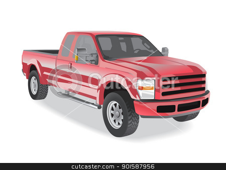 Pick-up truck red stock photo, Pick-up truck red isolated on white background by lkeskinen