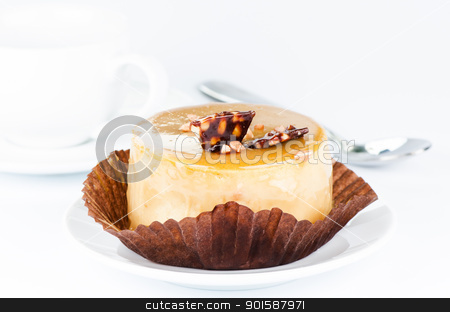 Caramel cake stock photo, Caramel cake close up by Nanisimova