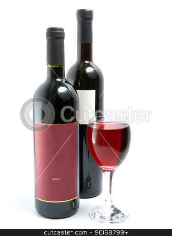 Red wine stock photo, Glass full of red wine and two bottles of wine on a white background. by Sinisa Botas