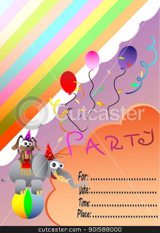 Circus Elephant Birthday Party Invitation Card Stock Vector