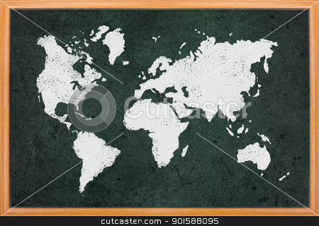 World map draw on blackboard stock photo, World map draw on blackboard with wooden frame  by Lawren