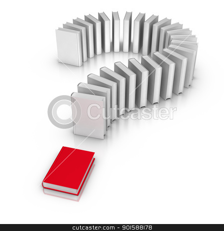 Books - Question Mark stock photo, 3D rendered books in question mark form. by ayzek