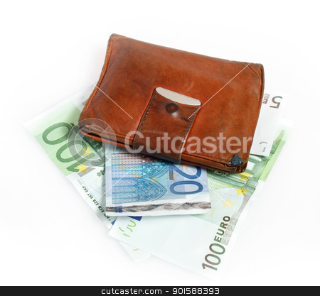 Leather wallet with euro banknotes  stock photo, Leather wallet with euro banknotes on white background by Artush