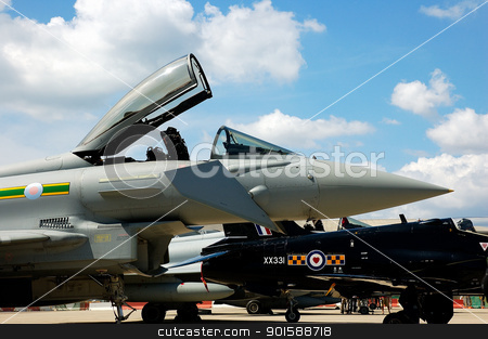 Eurofighter Typhoon cockpit stock photo, Detail of an Eurofighter Typhoon in Gibraltar by Salva Reyes