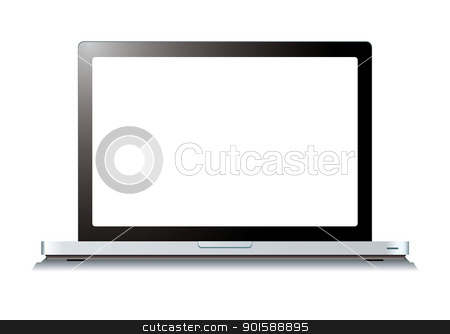 Laptop computer white screen stock vector clipart, Modern laptop computer with blank white screen by Michael Travers