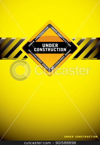 Under construction background stock vector clipart, Yellow warning under construction background with sign and hash banner by Michael Travers
