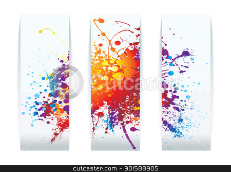 Rainbow splat cards stock vector clipart, Abstract raibow ink splat background business card concept by Michael Travers