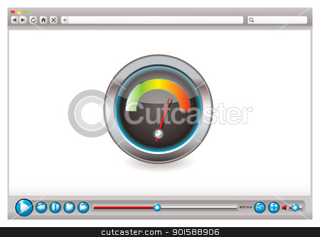 Web video browser speed stock vector clipart, Internet world wide web speed checker icon concept by Michael Travers