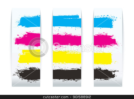 Four color paper stock vector clipart, Four colour paper banner cards design elements with copy space by Michael Travers