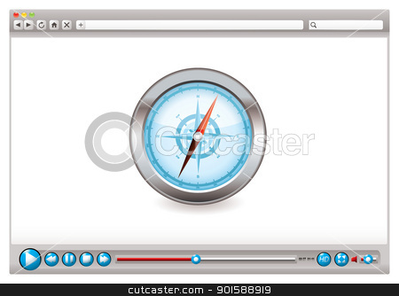 Web video browser navigation stock vector clipart, Internet web browser concept with compass navigation icon by Michael Travers