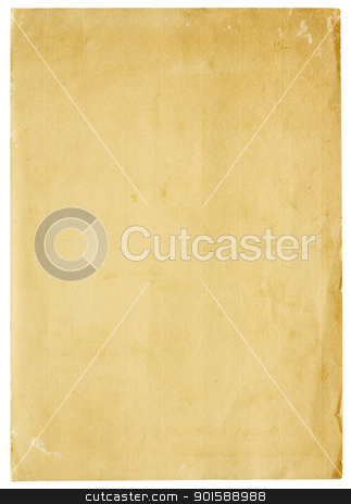 Very Old Blank Paper stock photo, Aged and worn paper with abrasions, creases and rough edges. Blank with room for text or images. Isolated on White. Includes clipping path. by Mark Carrel