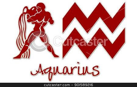 Aquarius Zodiac Signs - Red Sticker stock photo, zodiac signs by StacyO