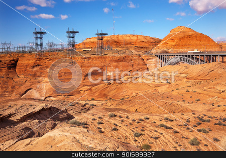 Glen Canyon Dam Electric Power Towers Lines Arizona stock photo, Glen Canyon Dam Electric Power Towers and Lines Arizona.  Orange Canyon by William Perry