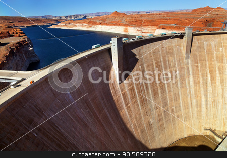 Glen Canyon Dam Lake Powell Arizona stock photo, Glen Canyon Dam Lake Powell Arizona by William Perry