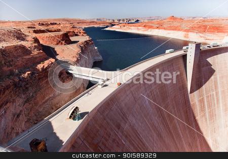 Glen Canyon Dam Lake Powell Arizona stock photo, Blue Lake Orange Glen Canyon Dam Arizona by William Perry