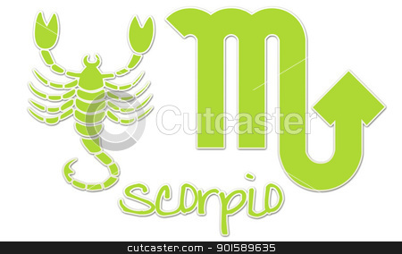 Scorpio Signs - Lime Sticker stock photo, zodiac signs by StacyO