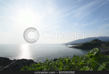 Beach on the sunny day on japan sea stock photo, Beach on the sunny day on japan sea by yoshiyayo