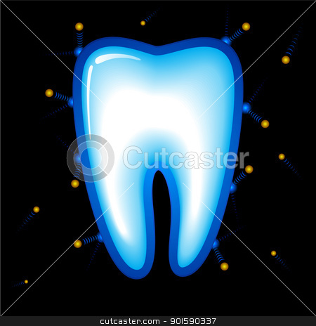 Tooth stock photo, Tooth Protection. Vector illustration on black background by dvarg