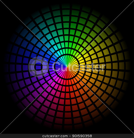 Spectrum cell stock photo, Colorful background with spectrum cell. Vector illustration on black by dvarg