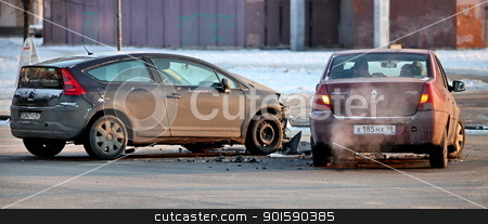car accident stock photo, car accident at the crossroads by mrivserg