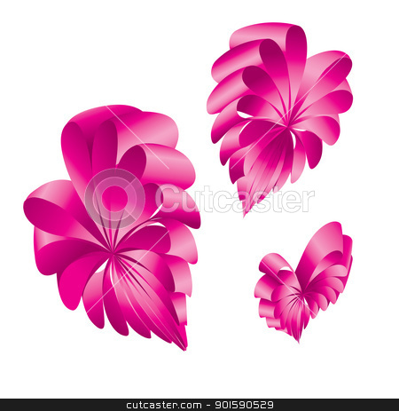 Shape of a hearts. stock photo, Ribbons curled into the shape of a  pink hearts. by dvarg
