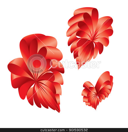 Shape of a hearts. stock photo, Ribbons curled into the shape of a red hearts. by dvarg
