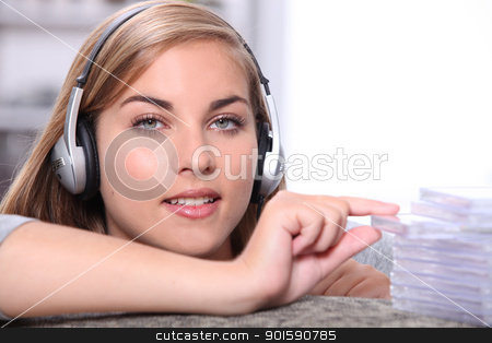 Girl listening to music stock photo, Girl listening to music by photography33