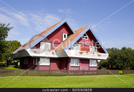 Rural architecture colorful garden house flora  stock photo, Rural architecture colorful garden house and beautiful landscaped environment around it.  by sauletas
