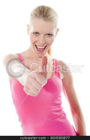 Pretty attractive girl showing thumbs-up stock photo, Attractive girl showing thumbs-up on white background by Ishay Botbol
