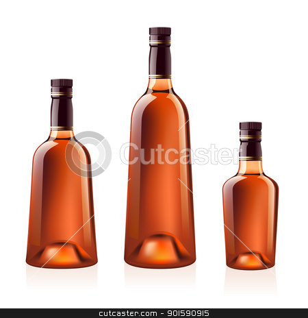 Bottles of cognac (brandy). Vector illustration. stock photo, Realistic vector bottles of cognac (brandy). Isolated on white background by dvarg