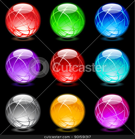 Glossy spheres stock photo, Collection of colorful glossy spheres isolated on black. Set #16 by dvarg