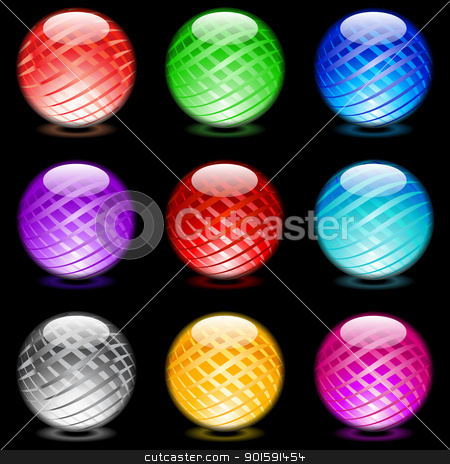 Glossy spheres stock photo, Collection of colorful glossy spheres isolated on black. Set #11. by dvarg