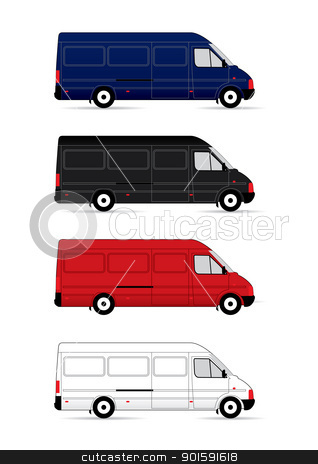 Isolated Delivery Vans stock photo, Isolated Delivery Vans on white background. Vector illustration by dvarg