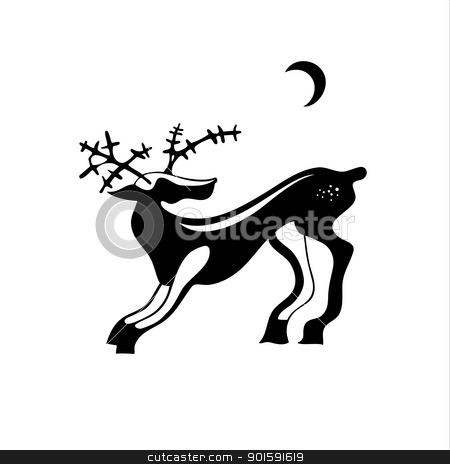 Deer stock photo, Black vector illustration of a deer. by dvarg