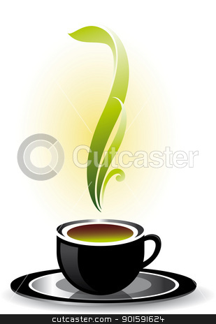 Cup of coffee stock photo, Cup of coffee or tea. Vector illustration on white background. by dvarg
