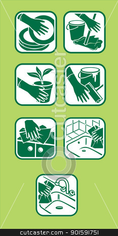 Domestic cleaning icon stock photo, Vector of icon set. Domestic cleaning. Green design. by dvarg
