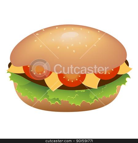 Hamburger with cheese and tomatoes stock photo, A single hamburger with cheese and tomatoes by dvarg