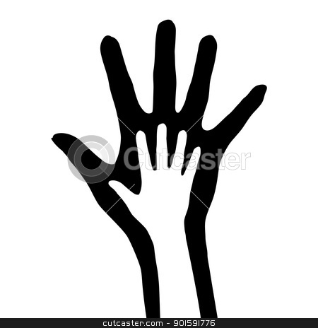 Hand in hand stock photo, Hand in hand. Vector illustration on white background by dvarg