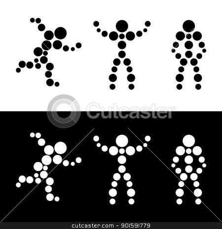 Abstract silhouette of people. Sphere. stock photo, Abstract silhouette of people. Sphere. Black and white vector illustration. by dvarg
