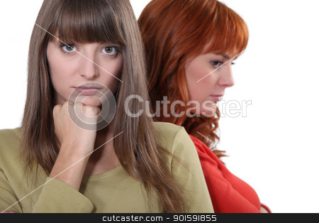 Two upset female friends stock photo, Two upset female friends by photography33
