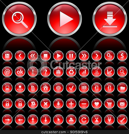 Red glossy icons stock photo, Set of red glossy icons on black background  by dvarg