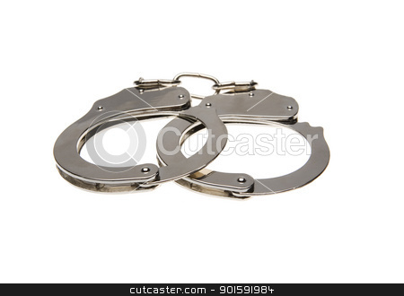 Handcuffs stock photo, Handcuffs isolated on white background by Anne-Louise Quarfoth
