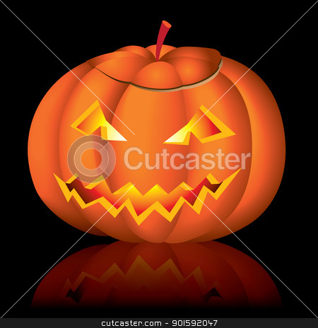 Jack-o-lantern halloween stock photo, Jack-o-lantern halloween vector illustration on black background by dvarg