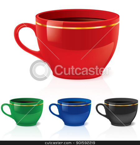 Coffee or tea cups stock photo, Colorful coffee/tea cups set. by dvarg